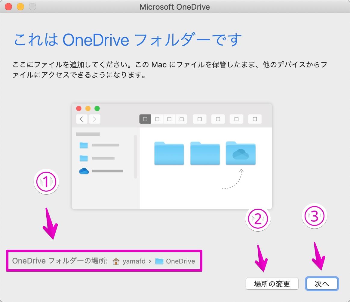 MacでOneDriveアプリを起動